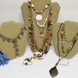 Boho hippie bohemian necklace lot some signed